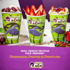 Chocomousse, Chocotop e Chocofrutas - Akasa do Açaí